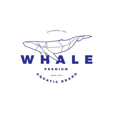 白の多角形の鯨サークル スタンプ