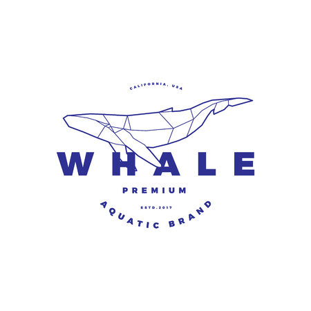 Polygonal Whale Circle Stamp on White