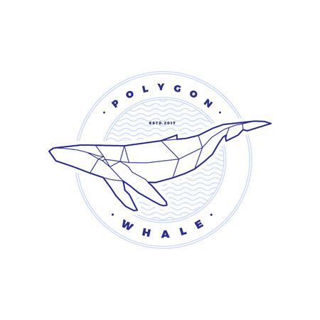 白地波と多角形の鯨サークル スタンプ