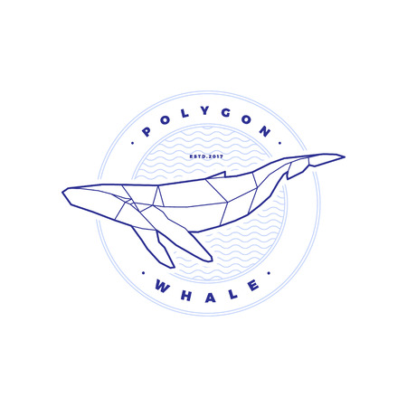 Polygonal Whale Circle Stamp with Waves on White