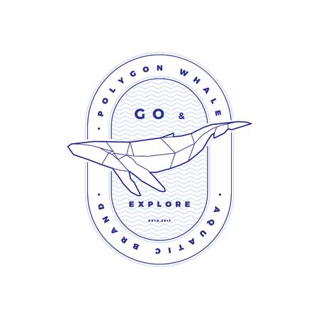 Polygonal Whale Logo Stamp on White