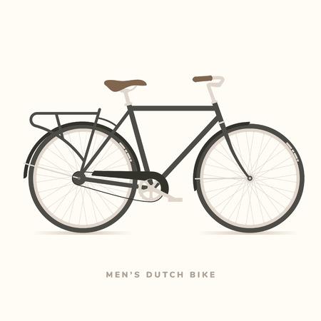 メンズ クラシック オランダ自転車、ベクトル イラスト  イラスト・ベクター素材