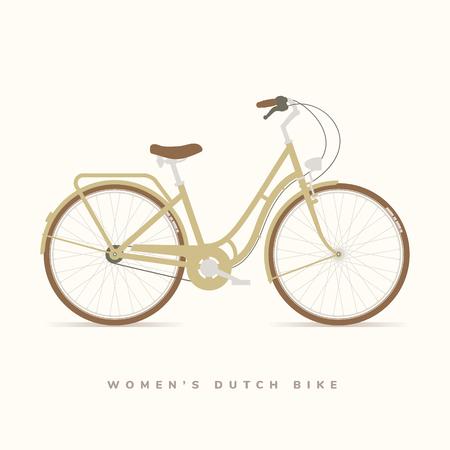 レディースクラシックオランダのバイク、ベクトルイラスト  イラスト・ベクター素材
