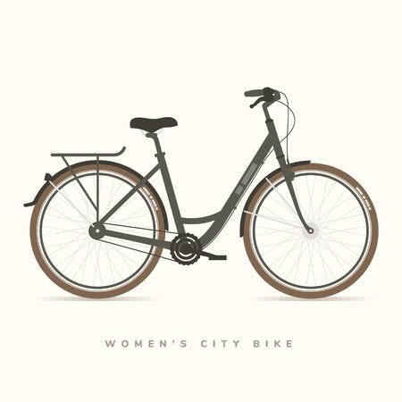 レディース シティ自転車ブラック、ベクトル イラスト  イラスト・ベクター素材