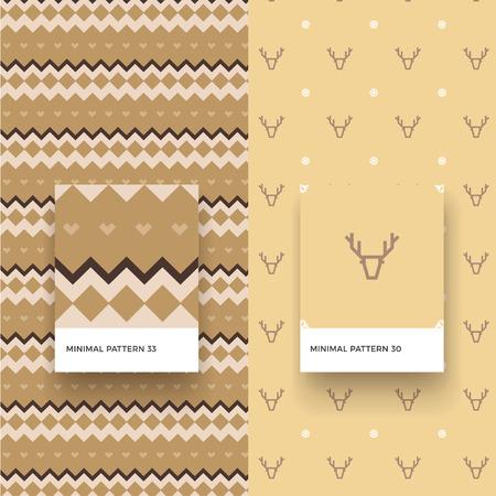 伝統的なクリスマス鹿と幾何学模様のシームレス パターン
