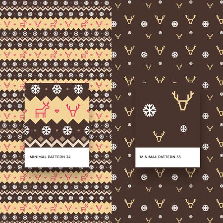 伝統的なメリー クリスマス雪の結晶、鹿と幾何学的図形とシームレス パターン