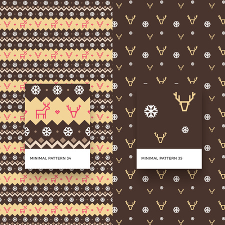 Traditional Merry Christmas Seamless Patterns with Snowflakes, Deer and Geometric Shapes