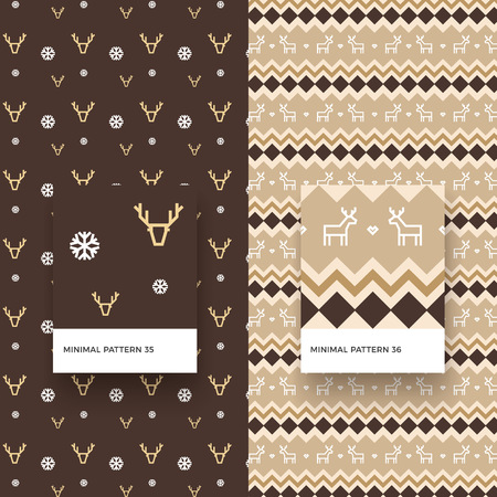 Modèles sans couture traditionnels joyeux Noël avec des flocons de neige, des cerfs et des formes géométriques Banque d'images - 88450799
