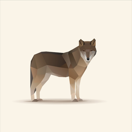 Polygonal vector illustration of watching wolf 일러스트