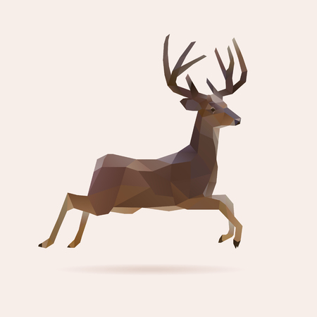 Jumping polygon reindeer, vector illustration 일러스트