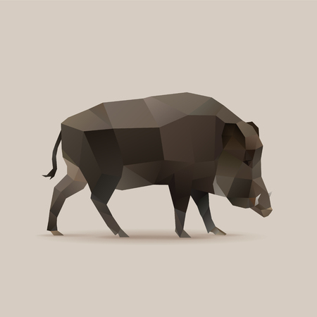 Wild boar, polygonal vector illustration