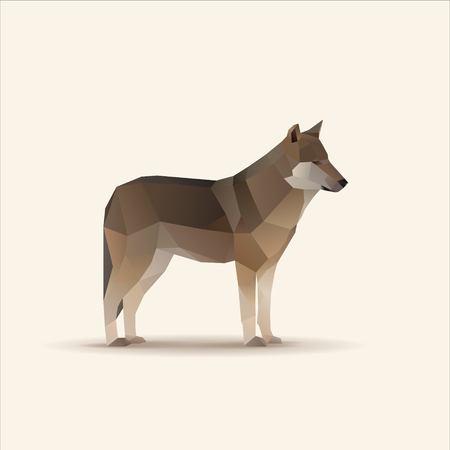 Polygonal vector illustration of wolf