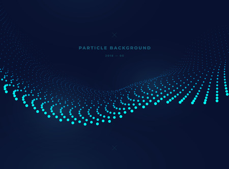 Particle wave, vector dotted illustration