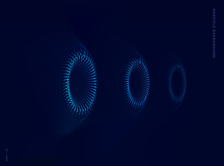 three particle turbines, vector dotted illustration