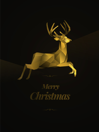 Merry Christmas polygonal reindeer card
