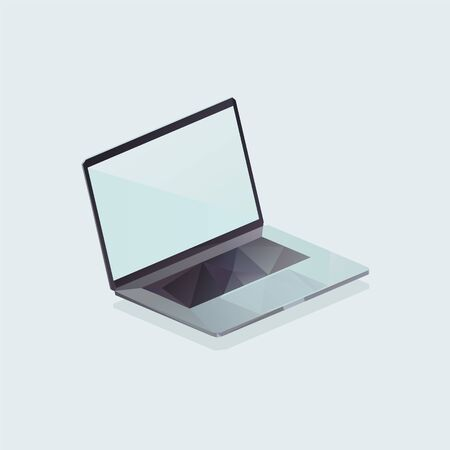 isometric low poly notebook illustration, polygonal laptop 矢量图像
