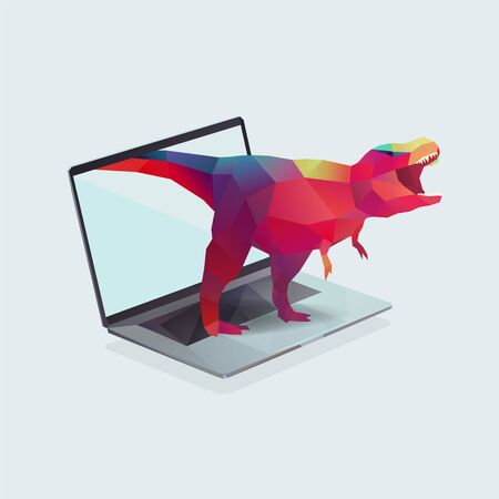 notebook with polygon dinosaur illustration. Project management concept