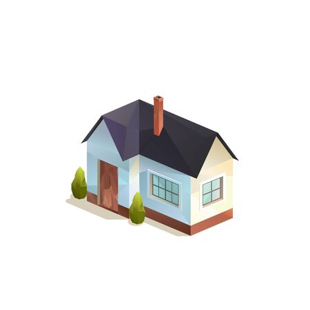 one-storey small rural family house, Polygonal isometric vector isolated illutration Ilustracja