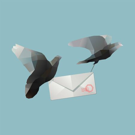 polygonal pigeons with envelope. Contanct me illustration with mail delivery