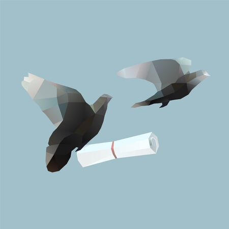 polygonal pigeons with message letter. Contanct me illustration