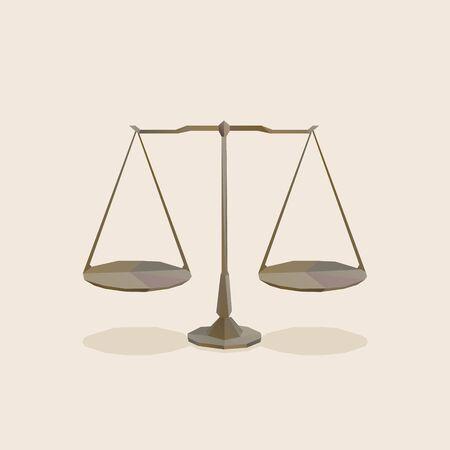 balanced scale icon, polygonal isometric illustration 向量圖像