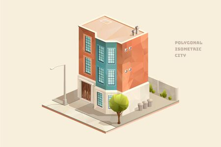 Small old fashioned new york tenement building home house, polygonal isometric city