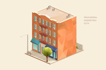 City urban old fashioned residential brick building with shops vector illustration