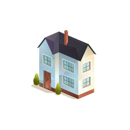 two-storey rural family house, Polygonal isometric vector illutration