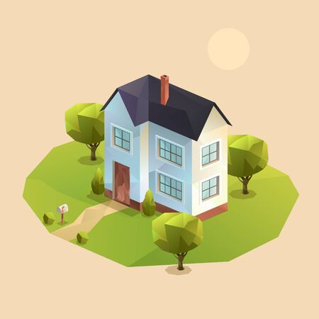two-storey family house, Polygonal isometric vector illutration 向量圖像