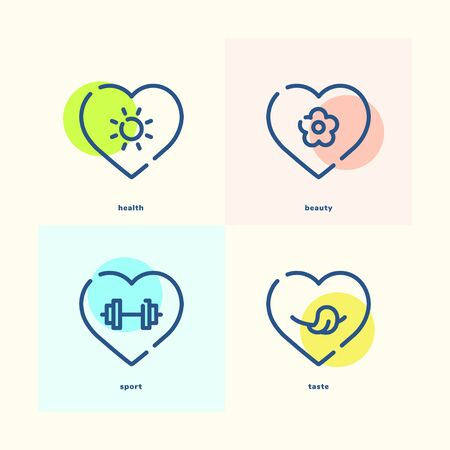 Set of outline icons about health beauty sport taste