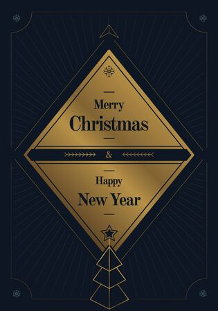 fancy Christmas and New Year's greeting card template, art deco retro style 矢量图像