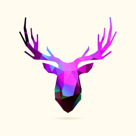 Deer low poly head in vivid neon purple blue colors