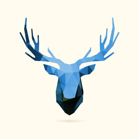 low poly deers blue head, vector illustration