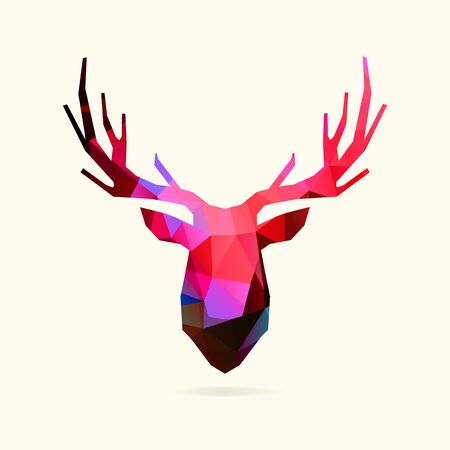Deer low poly head in vivid neon colors Ilustracja