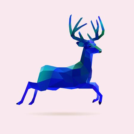 Blue vector illustration of jumping reindeer