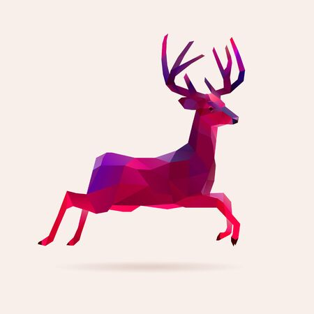 Vivid neon holographic christmas vector deer, reindeer illustration 矢量图像