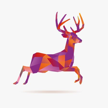Jumping christmas low poly deer, vector illustration 矢量图像