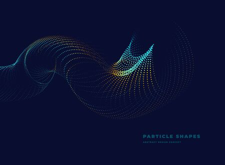 tube, abstract particle vector dotted wave on dark background