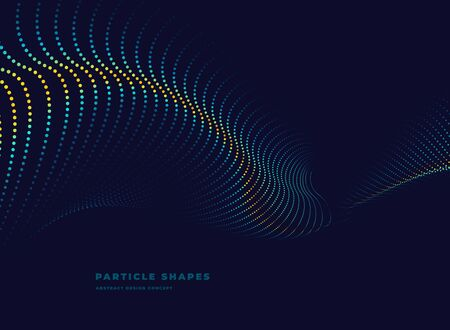 tech abstract particle vector dotted wave on dark background