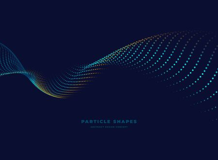 light flying abstract particle vector dotted wave on dark background