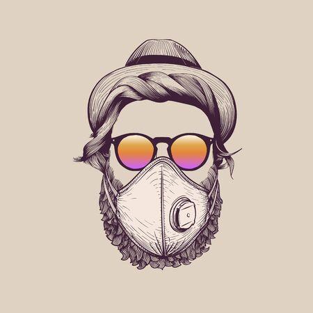 Man with beard wearing protection ffp3 face mask against coronavirus