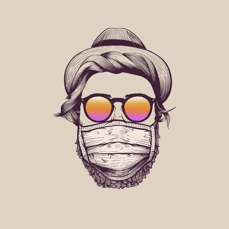 Fashionable hipster wearing protection face mask against coronavirus. Hand-drawn vintage vector illustration