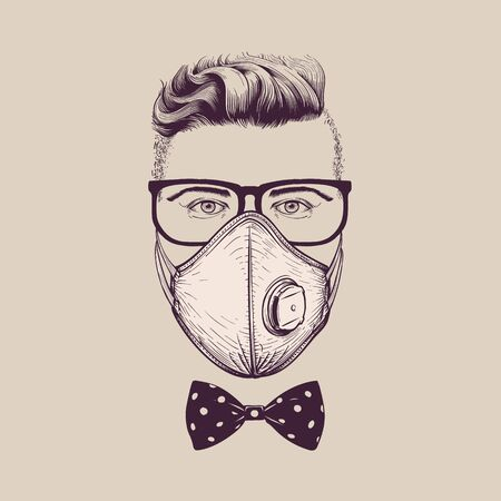 Gentleman with glasses wearing surgical respiratory  ffp3 mask against coronavirus