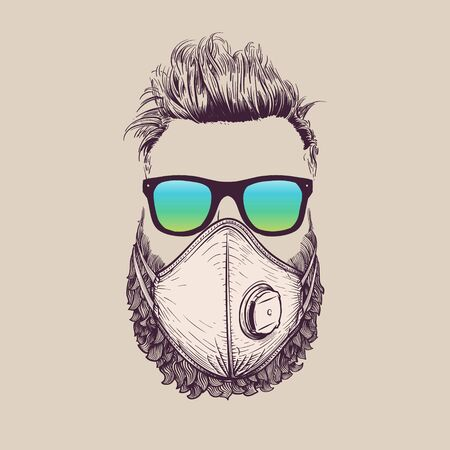 Bearded hipster wearing protection ffp3 face mask against coronavirus. Hand-drawn vintage vector illustration 矢量图像