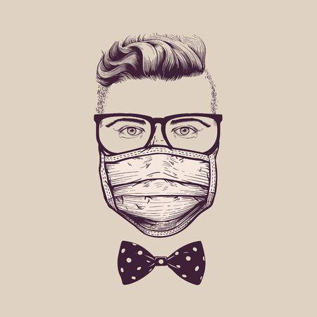 Gentleman with glasses wearing surgical respiratory  face mask against coronavirus Ilustracja