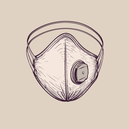 Breathing surgical protective ffp3 respirator, vintage hand-drawn illustration 矢量图像
