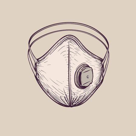 Breathing surgical protective ffp3 respirator, vintage hand-drawn illustration 向量圖像