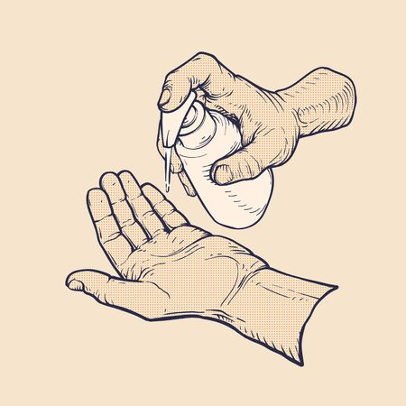 washing hands with hand sanitizer, vintage vector illustration