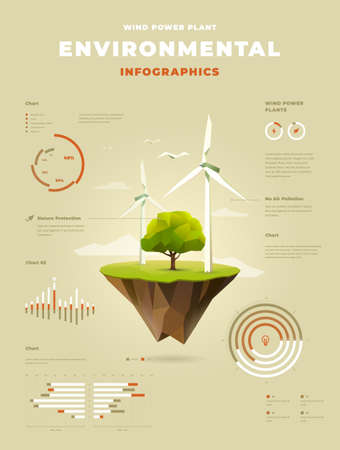 The polygonal wind power plant with a tree on floating island infographics