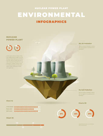 polygonal Nuclear power plant on floating island infographics